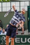 Tomas Berdych στην τρίτη στρογγυλή αντιστοιχία, Roland Garros 2014 στοκ εικόνες