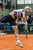 Tomas Berdych στην τρίτη στρογγυλή αντιστοιχία, Roland Garros 2014 Στοκ Φωτογραφία