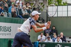 Tomas Berdych στην τρίτη στρογγυλή αντιστοιχία, Roland Garros 2014 Στοκ Φωτογραφίες