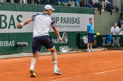 Tomas Berdych στην τρίτη στρογγυλή αντιστοιχία, Roland Garros 2014 στοκ εικόνα με δικαίωμα ελεύθερης χρήσης