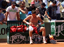 Tomas Berdych bei Roland Garros 2011 Stockbilder