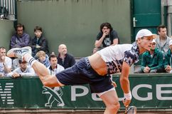 Tomas Berdych in third round match, Roland Garros 2014 Royalty Free Stock Photo
