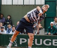 Tomas Berdych in third round match, Roland Garros 2014. Paris, France - May 30, 2014: Tomas Berdych of of Czech Republic plays in the 3rd round match at French Stock Image