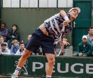 Tomas Berdych in third round match, Roland Garros 2014 Stock Image