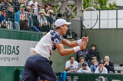 Tomas Berdych in third round match, Roland Garros 2014 Stock Photos