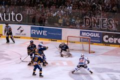 Tomas Duba save - czech playoff Royalty Free Stock Photos
