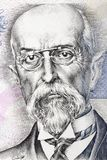 Tomas Garrigue Masaryk a portrait. Tomas Garrigue Masaryk portrait from Czech money royalty free stock photography