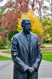 Tomas Garrigue Masaryk statue. In park the spa town Podebrady - Czech Republic Royalty Free Stock Photography