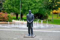 Tomas Garrigue Masaryk statue. In park the spa town Podebrady - Czech Republic Royalty Free Stock Photo