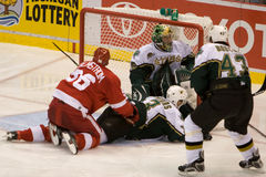 Tomas Holmstrom Battles In Front Of The Net. Tomas Holstrom of the Detroit Red Wings battles in front of the net during a game against the Dallas Stars at Joe Stock Image