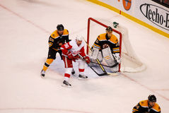 Tomas Hostrom Detroit Red Wings. Detroit Red Wings forward Tomas Holstrom (96) sets up in front of Bruins goalie Tuukka Rask (40 Stock Image