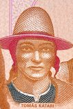 Tomas Katari a portrait. Tomas Katari portrait from Bolivian money stock photos