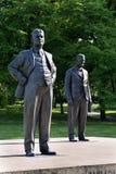 Tomas och Jan Antonin Bata staty i Zlin, Tjeckien Arkivfoto