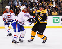 Tomas Plekanec hits Brad Marchand. (Bruins v. Canadiens) Stock Images
