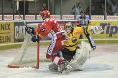 Tomas Pospisil - czech hockey extraleague. Tomas Pospisil from Slavia Prague in the play-out of czech ice hockey extraleague match between Slavia Prague and royalty free stock photo