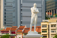 Tomas Stamford Raffles monument, Singapore. Statue of Sir Tomas Stamford Raffles - best known for his founding of the city of Singapore. He is often described as Royalty Free Stock Photo