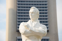 Tomas Stamford Raffles statue, Singapore. Statue of Sir Tomas Stamford Raffles - best known for his founding of the city of Singapore. He is often described as Stock Image