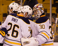 Tomas Vanek and Ryan Miller Stock Photography
