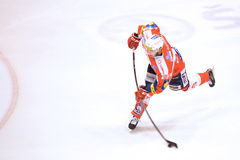 Tomas Zohorna. PARDUBICE 8/3/2015 _ Tomas Zohorna shots goal to 5:0 in match HC Pardubice a HC Vítkovice stock photography