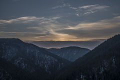 Tomasovsky view in Slovakia Paradise with cloudy sunset royalty free stock image