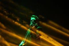 Tomasz Mrenca в реальном маштабе времени на международной мультимедийной презентации - окружающем фестивале Gorlice Польша Стоковое Изображение
