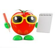 tomat 3d med notepaden och blyertspennan Arkivfoton