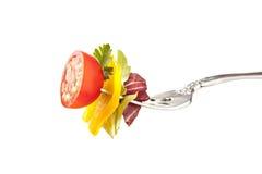 tomat för sallad för peppar för klockagaffelgrönsallat royaltyfria foton