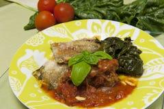 tomat för spenat för meatrullar sås tjänad som Royaltyfri Fotografi