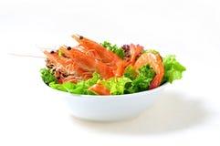 tomat för svanar för räka för sallad för lampa för dressingjumbogrönsallat Royaltyfri Fotografi