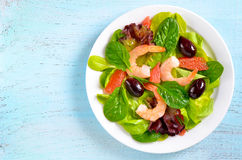 tomat för svanar för räka för sallad för lampa för dressingjumbogrönsallat Arkivfoto