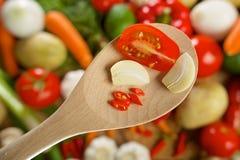 Tomat-, garlick- och chilipeppar på ett trä Arkivfoto