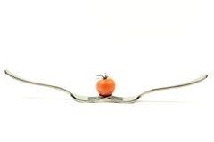 Tomat i jämvikt på två gafflar Arkivbild
