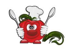 Tomat mat, roligt tecken, grönsaker, royaltyfri illustrationer