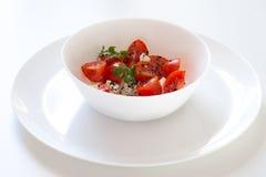Tomat med vit ost Fotografering för Bildbyråer