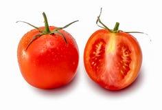 Tomat och halva av tomaten Stock Illustrationer