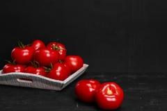 Tomat på en svart bakgrund med realistiska reflexions- och vattendroppar nya tomater Royaltyfri Bild