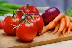 Tomat, purpurfärgad lök och tomat Arkivfoton