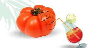 Tomat som dricker en blodiga mary Arkivbild