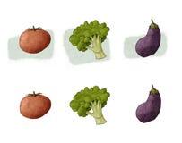 Tomatbroccoliaubergine Vektor Illustrationer