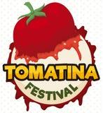 Tomate éclaboussée dans un bouton rond pour le festival de Tomatina, illustration de vecteur Image libre de droits