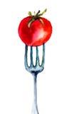 Tomate auf der Gabel Lizenzfreies Stockbild