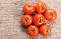 Tomate auf einem alten Gewebe lizenzfreie stockbilder