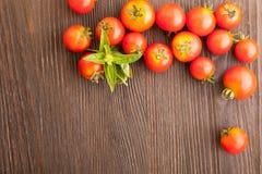 Tomate avec le basilic sur la table en bois Image libre de droits