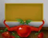 Tomate brillante rojo con las manos y celebrar el pequeño ejemplo amarillo del tablero del color Foto de archivo libre de regalías
