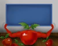 Tomate brillante rojo con las manos y celebrar el pequeño ejemplo azul del tablero del color Fotos de archivo libres de regalías