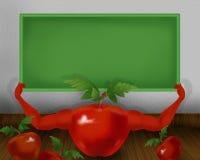 Tomate brillante rojo con las manos y celebrar el pequeño ejemplo del tablero del color verde Imagen de archivo libre de regalías