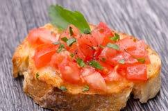 Tomate Bruschetta Stockfoto