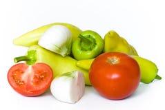 Tomate, cebola e pimenta Foto de Stock