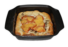 Tomate and cheese pie with chicken and mashrooms. In backing sheet isolated Stock Images