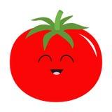 Tomate com ícone das folhas Cor vermelha Coleção vegetal Alimento saudável da exploração agrícola fresca Face de sorriso Personag ilustração royalty free